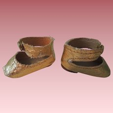 Vintage Metallic Gold Center Snap Doll Shoes
