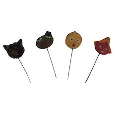 Vintage Halloween Stick Pins Set of Four