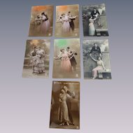 Seven Lovely Romantic Unused Post Cards - Six Tinted