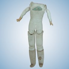 German Kid and Cloth Doll Body for Repair with Label