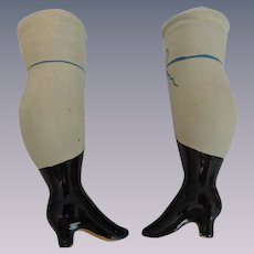Large Pair Doll Lower Legs with Painted Blue Bows