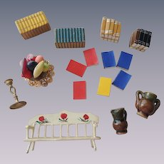 Doll House Miniatures with Books, Bench and More