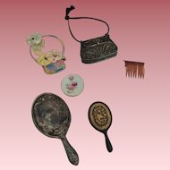 Fashion Doll Lot Mirrors Metal Purse and More