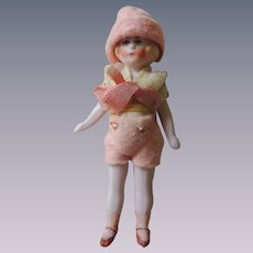 Tiny All Bisque Flapper Girl In Cute Peach Outfit