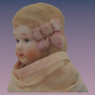 Large Chunky All Bisque Doll with Pink Molded Hair Bow