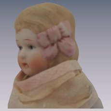 Sweet Chunky 7 Inch All Bisque Doll with Pink Molded Hair Bow