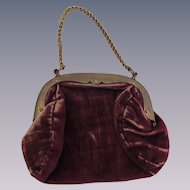 Sweet Maroon Velvet Purse for Larger Doll