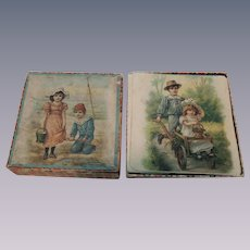 Lovely Early Set of Lithographed Children's Blocks In Box