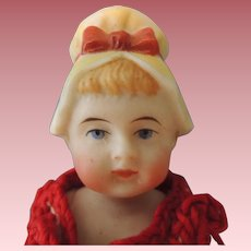Sweet German All Bisque Molded Bonnet Doll