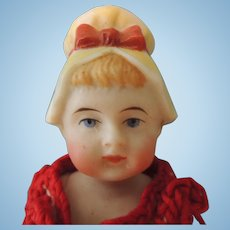 Sweet German All Bisque with Molded Bonnet Doll Beach Doll