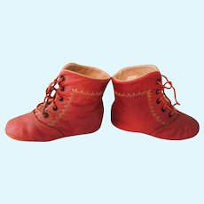 Darling Red Leather Baby, Large Doll Shoes or for a Teddy