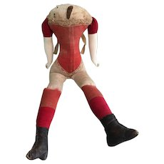 Nice Early Doll Body with Attached Red Corset and Leather Boots