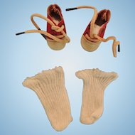 """Cutest Small Sized Red and White """"Oxford"""" Style Doll Shoes with White Socks"""