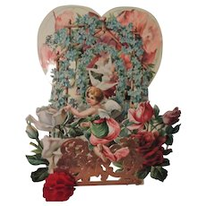 Gorgeous Ornate Mechanical Valentine with Cupid and Flowers