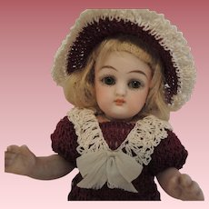 All Bisque 6 Inch German Doll with Black Stockings