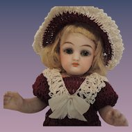 All Bisque German Doll with Black Stockings