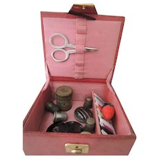 Lovely Red Sewing Box with Four Thimbles Scissors and More