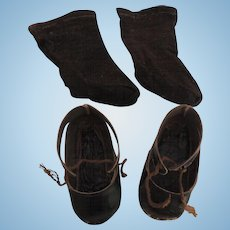 Black Shoes and Socks for German Doll In Well Loved Condition