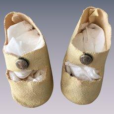 Vintage Cream Oil Cloth Center Snap Shoes