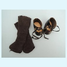 Nice Vintage Black Oil Cloth Shoes and Long Black Stockings