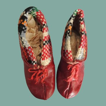 Charming Red Leather Children's Shoes with Colorful Woven Trim