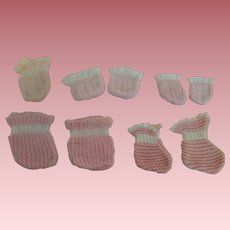 Vintage Pink Knit Socks for Baby Dolls * Pairs and Singles