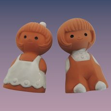 Darling Terra Cotta Little Boy and Girl Salt and Pepper Shakers