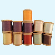 Lovely Miniature Silk Thread On Wood Spools