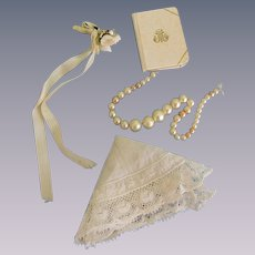 Miniature White Bible and Hankie Plus More for Fashion Doll