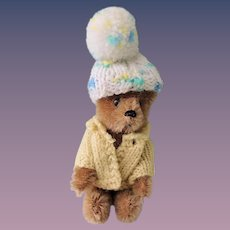 Miniature Jointed Mohair Schuco Teddy Bear In Sweater and Hat
