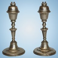 Pair of Mid-19th Century American Pewter Whale Oil Lamps