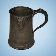 18th Century English Georgian Pewter Quart Tankard with Side-mounted Spout