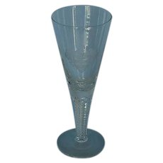 Mid-Century Clear Glass Presentation Goblet or Vase with Armorial
