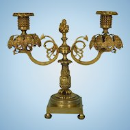 19th Century English Parcel-Gilt Bronze Candelabrum