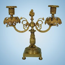 19th Century English Parcel-Gilt Bronze Candelabrum