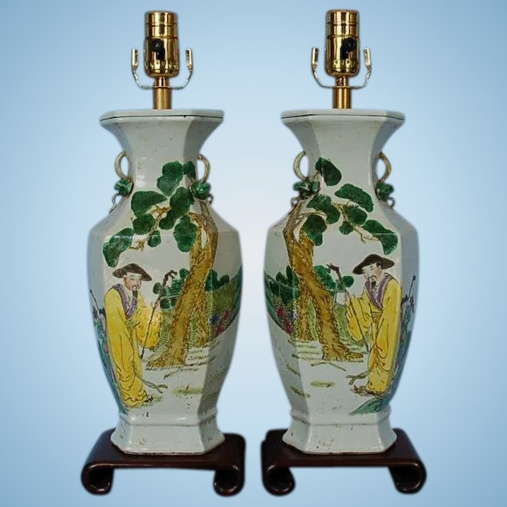 Early 20th Century Pair Of Chinese Pottery Vase Lamps Fitzsimon
