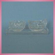 Modern Irish Cut Glass Creamer & Sugar Bowl on Tray Signed Fuaran Waterford