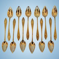 Twelve Early 19th Century French 800 Fine Silver Vermeil Teaspoons