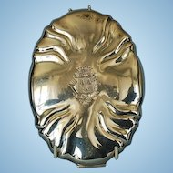 19th Century German Crested Travel Mirror in Hand-hammered 800 Fine Silver Case