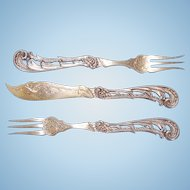 Early 20th Century German 800 Silver Parcel Gilt Three-piece Serving Utensils