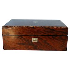 19th Century English Rosewood & Mother-of-Pearl Lap Desk or Ėcritoire