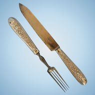 Early 19th Century Austro Hungarian 812 Silver Travelling Fork & Knife in Leather Case