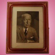Vintage Signed Karsh Photograph in Leather Frame
