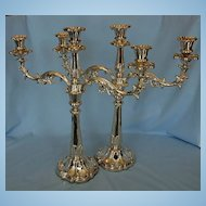 Pair Large Early 19th Century English Old Sheffield Plate Candelabra by Waterhouse, Hatfield & C