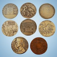 Eight Vintage French Bronze Medals of World War II by Paris Mint