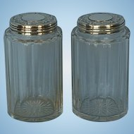 19th Century Pair English Sterling-Lidded Clear Glass Dresser Jars by Thomas Whitehouse