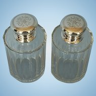 19th Century Pair European Clear Blown & Cut-Glass Men's Cologne Bottles with Crested Silverplate Lids