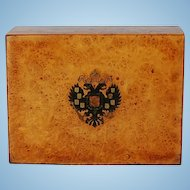 19th Century Imperial Russian Inlaid Carpathian Elm Box from Estate of Grand Duchess Olga Alexandrovna