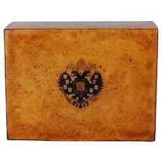 19th Century Imperial Russian Inlaid Carpathian Elm Box from Estate of Grand Duchess Olga Alexandrovna