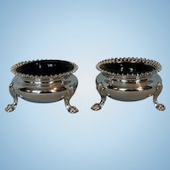 Early 19th Century Pair Old Sheffield Plate Salt Cellars with Gilt Interiors